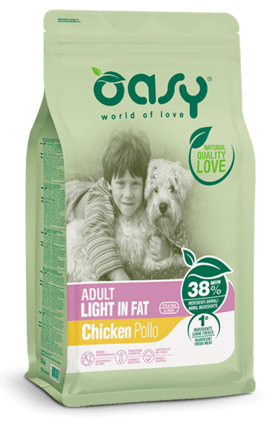 cibo secco per cani oasy | adult light in fat pollo