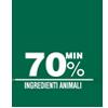 70% minimo ingredienti animali